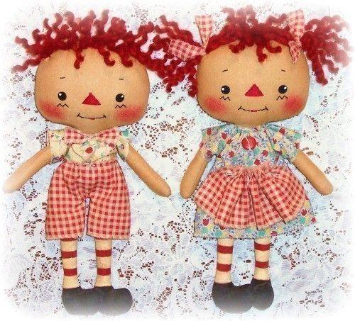 Doll Pattern, Boy or Girl, PDF Pattern, Rag Doll Pattern, Sewing Pattern, Raggedy Ann Annie, Toy, Cloth Doll Pattern, Softie. $9.00, via Etsy.