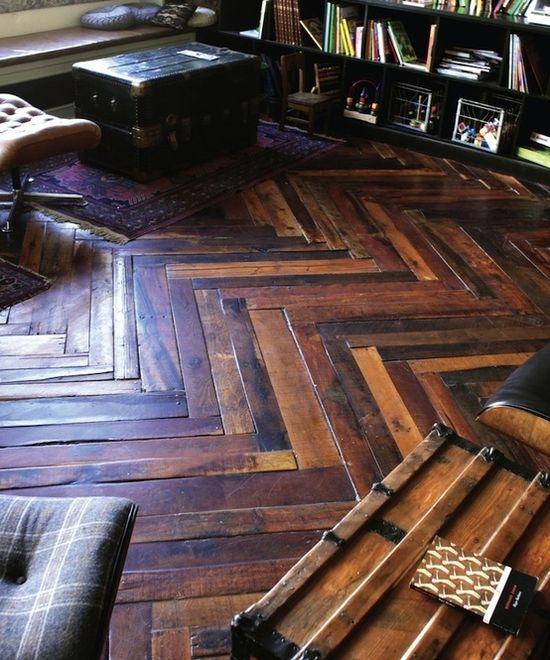 Beautiful chevron wood floors