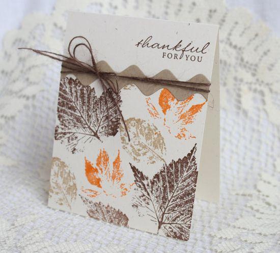 Handmade Greeting Card - Thankful - Thanksgiving via Etsy