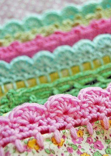 Crocheted edging for baby blankets and other textiles