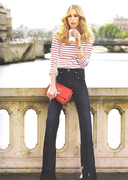 Red stripes and bag with flare leg jeans