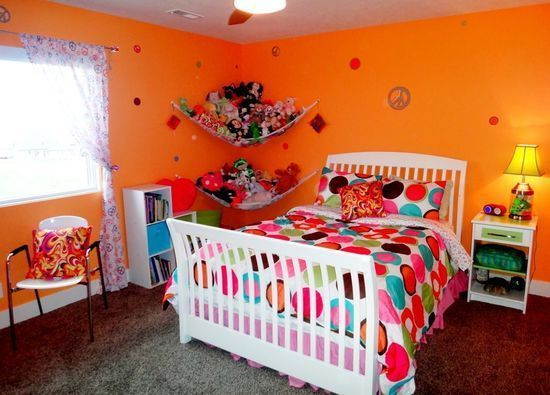Widhalm Custom Homes Omaha Woodland Model prairie modern mid century modern contemporary Omaha Bennington Nebraska bedroom girl teenager pre-teen orange polka dots peace sign