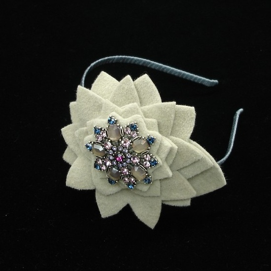 Handmade Headband for Women Fur Felt Flower Light Taupe Flower Purple Pink Flower Brooch