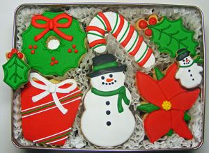 Merry Christmas Decorated Cookies Gift Tin