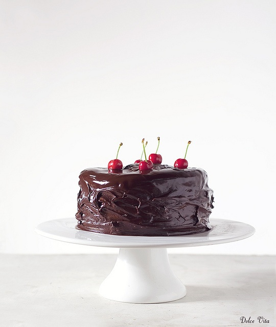 Decadently fabulous Chocolate, Hazelnut, Marzipan Sponge Cake with Cherries. #food #cooking #baking #dessert #birthday #cake #chocolate #cherries #wedding