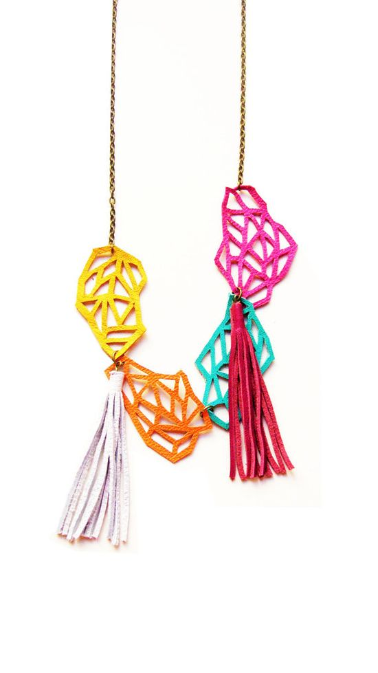 geometric leather links necklace $42 at Etsy