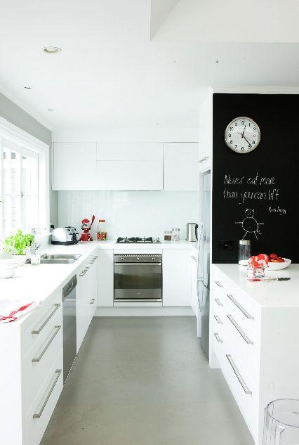 White kitchen with chalkboard - styled by maxine brady.
