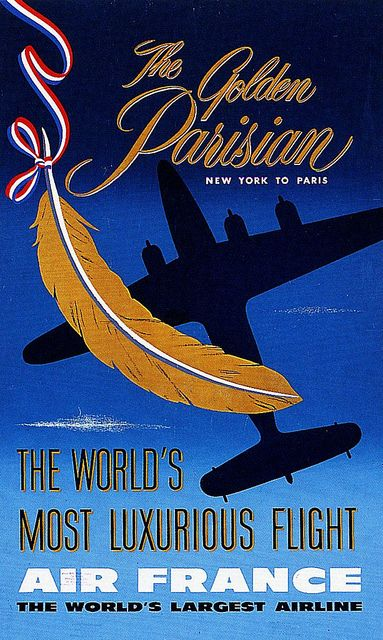Vintage Travel Poster , Golden Parisian Air France  NY to Paris 1950s