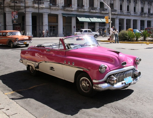 pink and white car