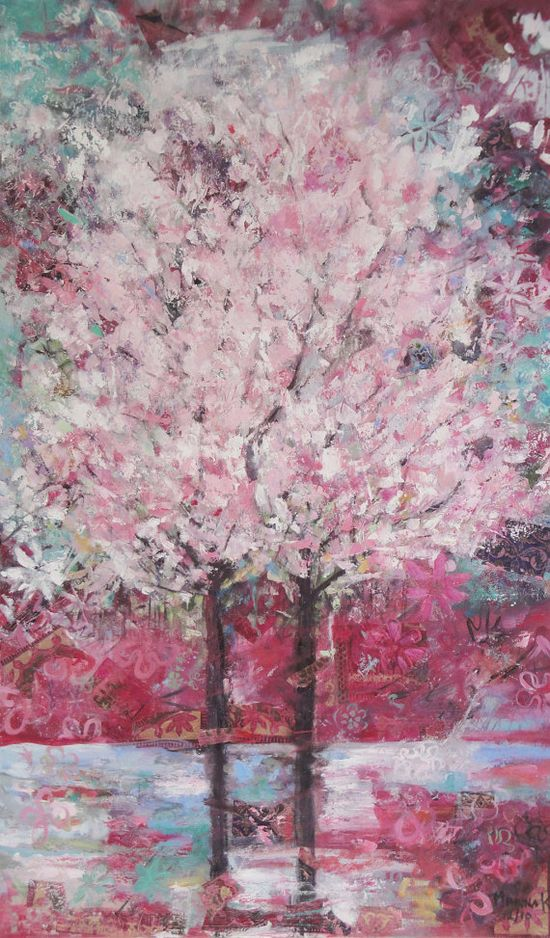Original Oil Painting on canvas Pink Blossom Trees by NarimCrafts