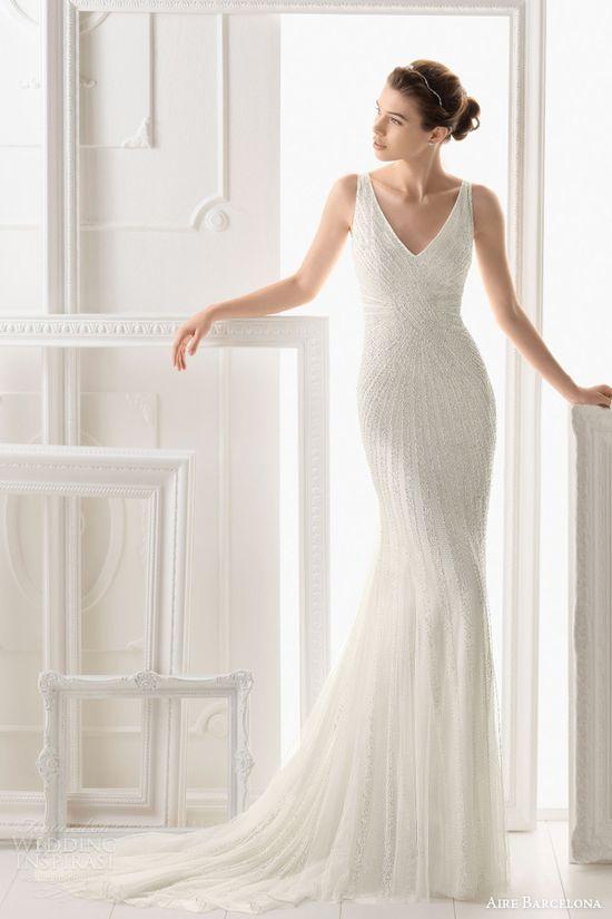 aire barcelona wedding dresses 2014 onice sleeveless beaded sheath gown