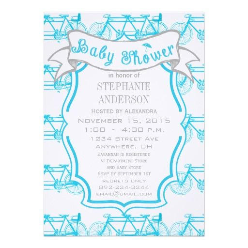 Modern Baby Boy Vintage Bike for Three Baby Boy Personalized Announcement