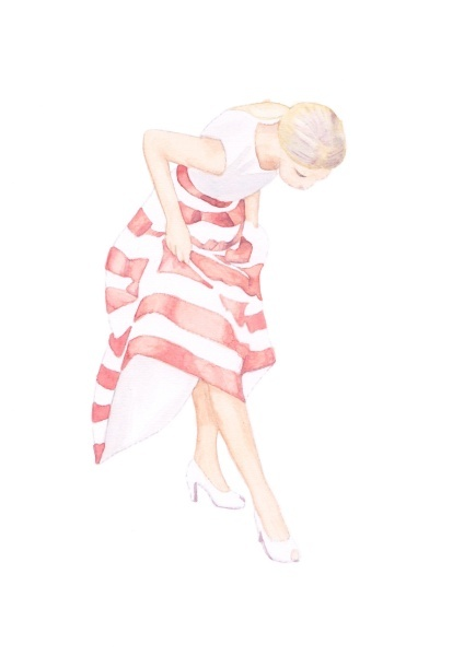 #CRAFTfest FashionInked: delicate fashion sketch of woman in a stripped red and white skirt. #art