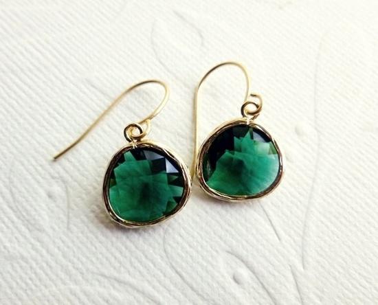 Emerald Green Earrings. $22.00, via Etsy.