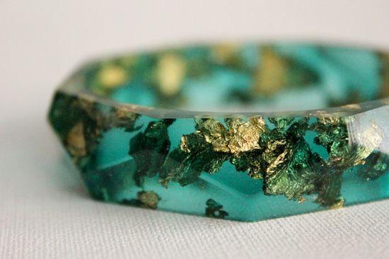 eco resin and gold leaf bangle