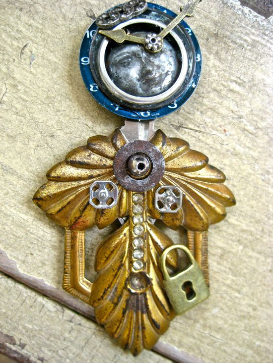 Steampunk jewelry The Time Keeper   steampunk by pinkflamingo61, $45.00