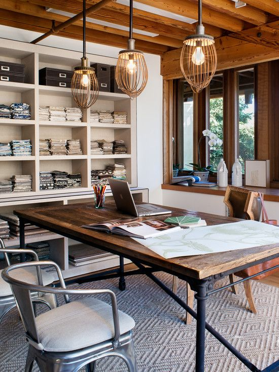 This room gives me goose-pimples.  Love the desk, mix of stain/painted wood, and metal. Perfect!
