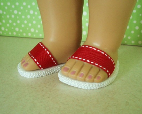 American Girl Shoes Red Strap Sandals