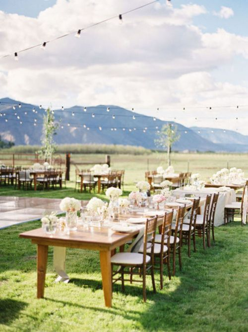 Outdoor Wedding Reception, Cafe Lighting
