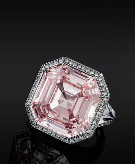 Pink Asscher Cut Diamond ring