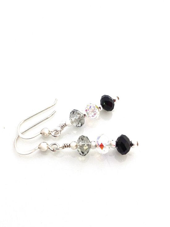 Black grey and clear crystals create an ombre effect in this simple pair or earrings.  Great for everyday and matches with everything.  #ombre #earrings #swarovskiearrings by #UrbanClink, $25.50