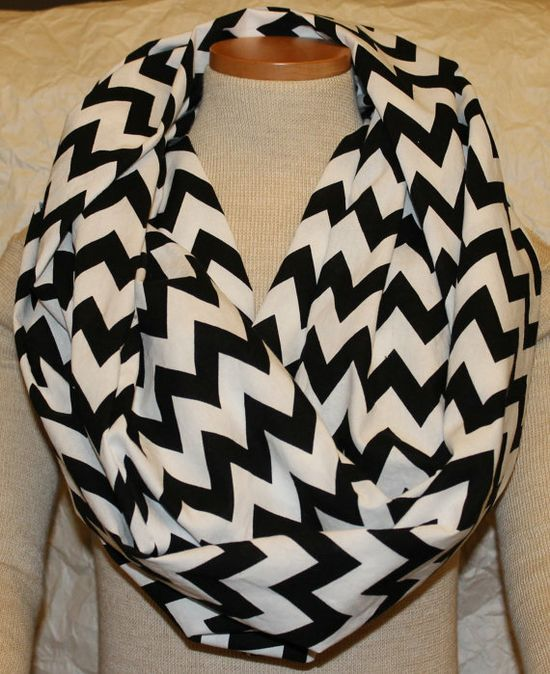 Black and White Chevron Infinity Scarf by LanesCustomCreations, $20.00