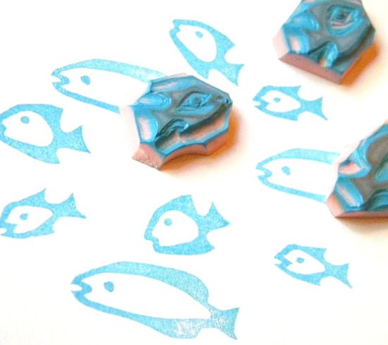Rubber stamp set of 3 fish