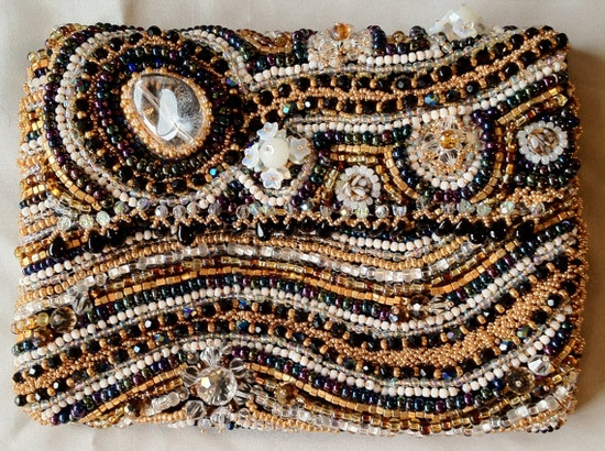 Mother of the Bride Hand Beaded Clutch Purse by bjswearableart, $450.00