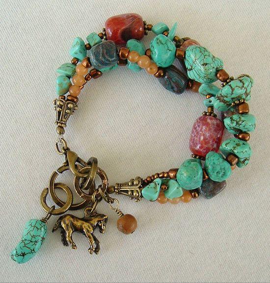 Boho Southwest Bracelet Turquoise Jewelry Bohemian by BohoStyleMe