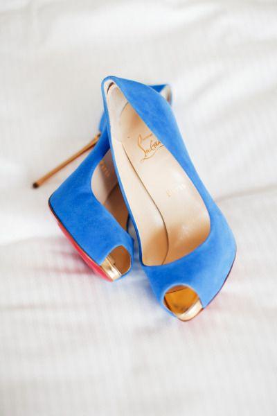 blue louboutins, high heels