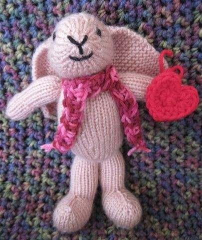 "Vegan Valentine Bunny: Made of acrylic yarn and stuffed with polyfil, 10"" tall. $25"