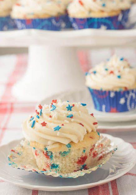 4th of July Funfetti Cupcakes
