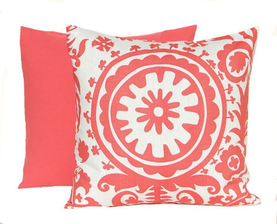 Coral Pillow Decorative Throw Pillow Covers 20 x 20 Inches Combo Pair Pillow Covers Coral Suzani with Coordinating Solid