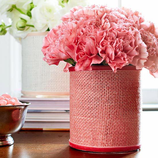 Burlap-Wrapped Flower Vases
