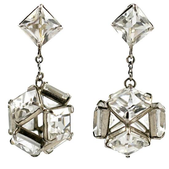 Vintage Art Deco 1920s Crystal Chandelier Earrings