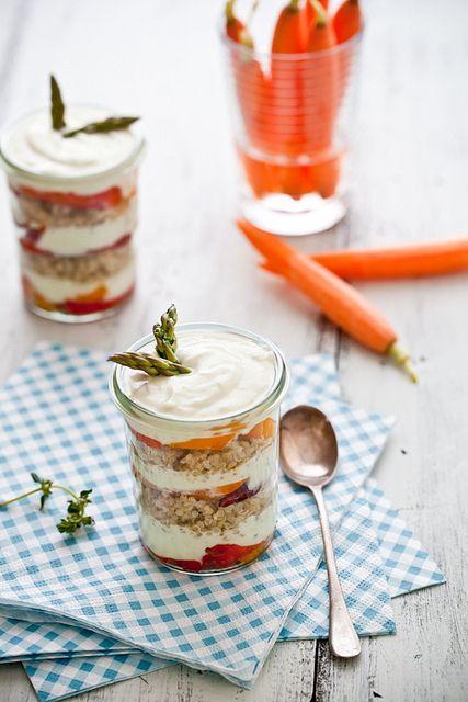 Quinoa, Mixed Peppers and Avocado Cream Verrines by tartelette, via Flickr