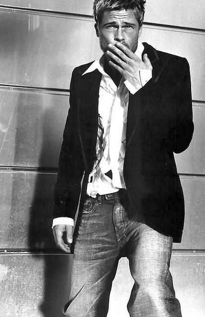 Brad Pitt classic look of white shirt, blazer and jeans.