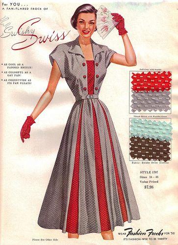 """Fashion Frocks """"Swishy Swiss"""" 1950    Style 1707 - swiss dot!!   """"As cool as a fanned breeze ...  As colorful as a gay fan ..."""""""