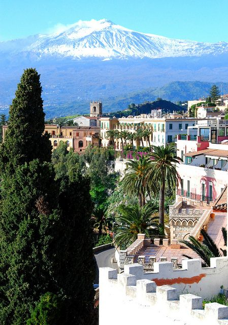 View to Mt. Etna, Taormina, Sicily, Italy