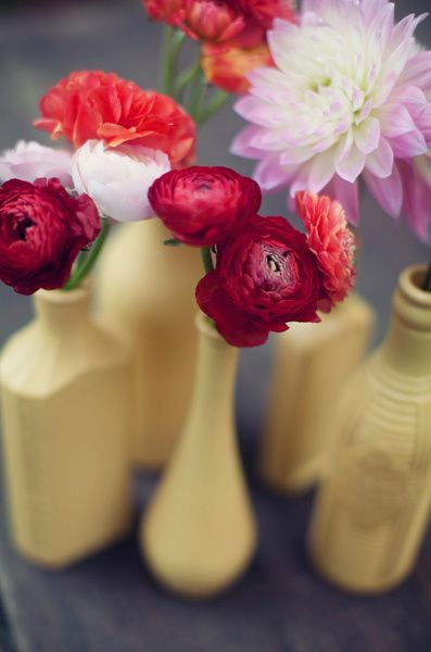 lovely painted glass bottles as centerpieces // photo by ClaytonAustinLove...