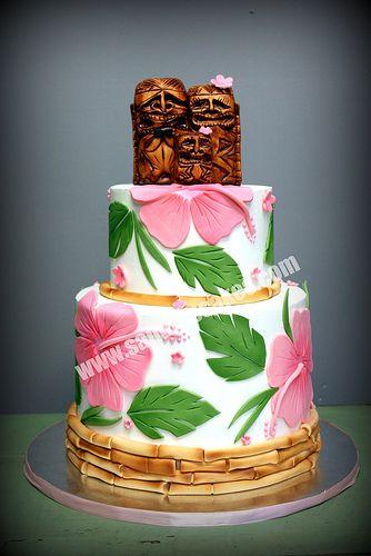 luau wedding 3  ~ wedding cake