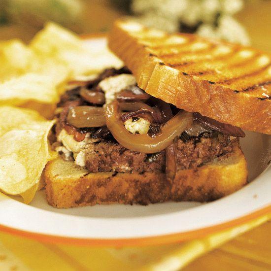 Chuckwagon Goat Cheese Burgers with Onion Jam
