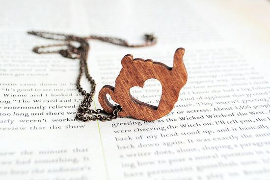 A necklace for tea lovers! - Tea Pot Heart Wooden by onetenzeroseven on Etsy, £12.00