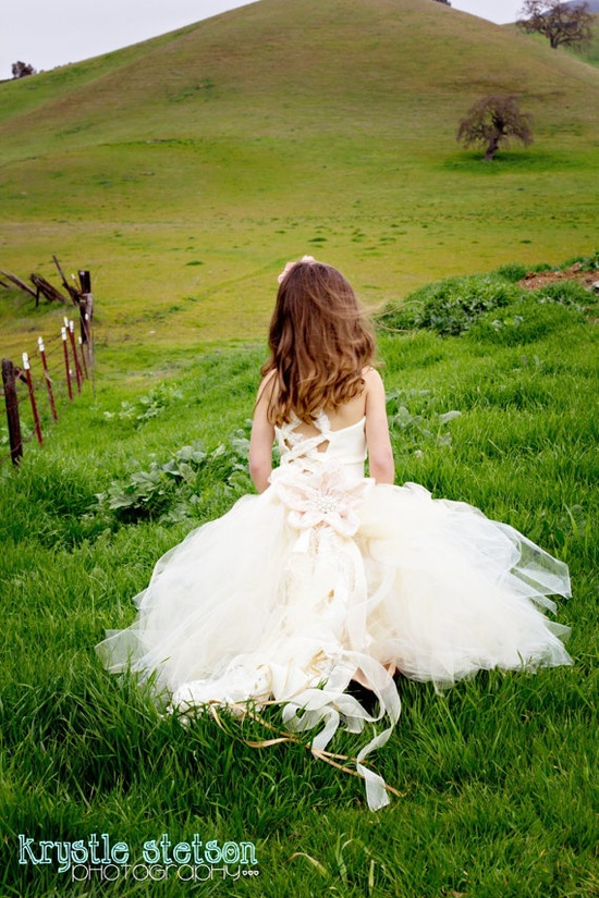 Ivory Lace Flower Girl Dress--Lined and Sewn Tulle Skirt w Detachable Flower Train--Weddings--Portraits. $175.00, via Etsy.