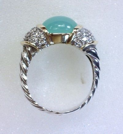 Aqua chalcedony set in 18K gold with pave diamonds and sterling silver