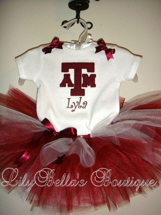 Baby girl monogrammed embroidered onesie, tutu, and hair bow - Texas A and M sports team cheerleader outfit