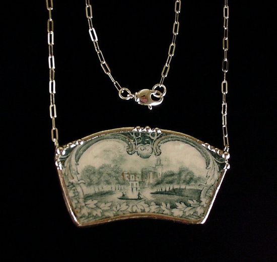 Antique scenic toile teal English transferware castle Necklace made from broken antique china by Dishfunctional Designs.