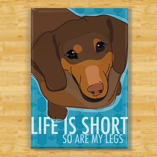 Life is Short Dachshund Dog Magnet by PopDoggie