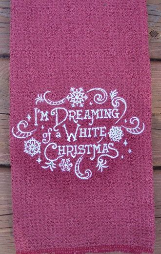 Christmas kitchen waffle weave dish towel with by PJSEMBROIDERY, $10.00