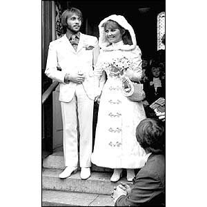 Maurice Gibb from the Bee Gees, with his bride, singer Lulu in 1969.